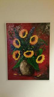 Sonnenblumen in Vase Ölbild