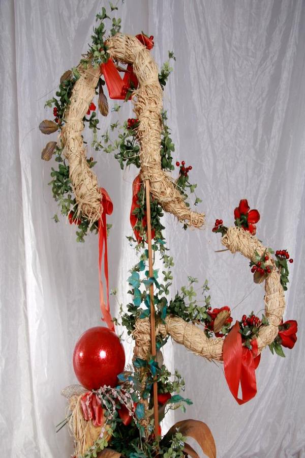 Trockenblumengesteck-Trockenstrauß-Bodendekoration-Stroh mit Rot