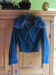 Velourlederjacke dunkelblau Gr.