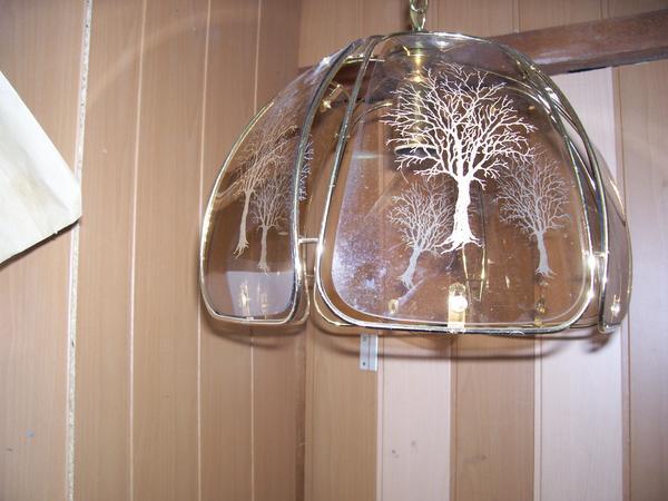 Wohnzimmer- Eßzimmerlampe mit zwei Tischleuchten