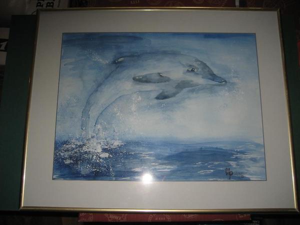 wunderschönes Aquarelle, Delfin » Kunst, Gemälde, Plastik